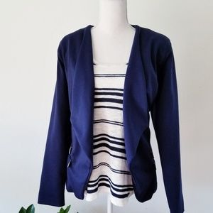 Metaphor Navy Lines Edgy Zipper Open Front Blazer